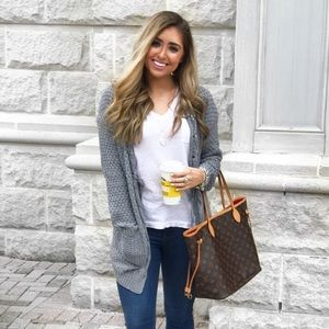 Sweaters - Grey lace Up cardigan